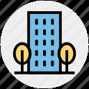 apartment, architecture, building, office, real estate, skyscraper, trees icon