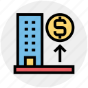 bank, building, dollar, dollar sign, enterprise, office, real estate