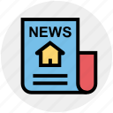 building, home, house, newspaper, paper, property, real estate icon
