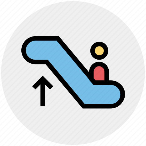 Electric stairs, escalator, escalator moving, going up, man on escalator, silhouette, staircase icon - Download on Iconfinder