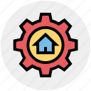 building, cog, gear, home, house, option, real estate