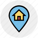 home, house, house location, location, location pin, map pin, real estate
