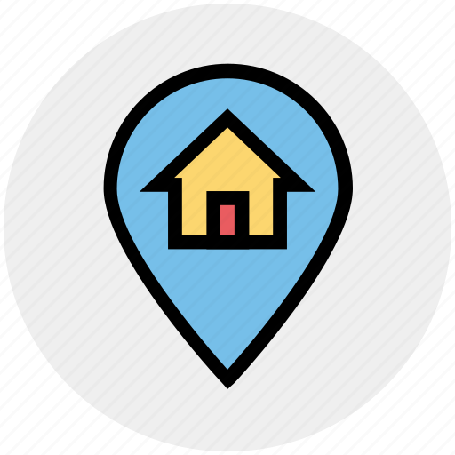 Home, house, house location, location, location pin, map pin, real estate icon - Download on Iconfinder