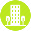 apartment, architecture, building, office, real estate, skyscraper, trees icon
