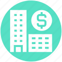 bank, buildings, dollar, dollar sign, enterprise, office, real estate icon