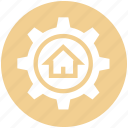 building, option, house, cog, real estate, home, gear
