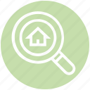 finding, home, house, magnifier, real, real estate, search icon