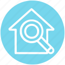 apartment, home, house, magnifier, property, real estate, search