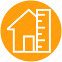 construction plan, home, house, house measurement, house with ruler, measuring scale, real estate