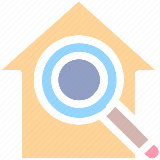 apartment, home, house, magnifier, property, real estate, search icon