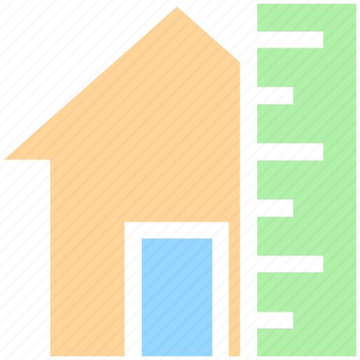 construction plan, home, house, house measurement, house with ruler, measuring scale, real estate icon
