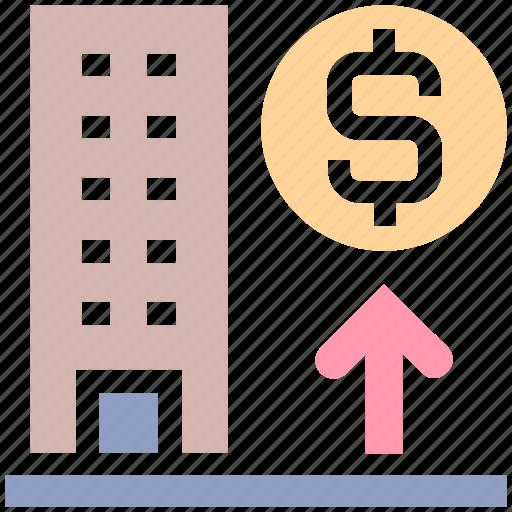 bank, building, dollar, dollar sign, enterprise, office, real estate icon