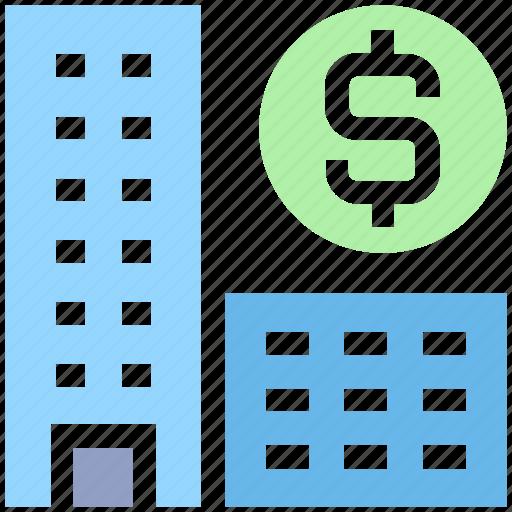 bank, buildings, dollar, dollar sign, enterprise, office, real estate icon