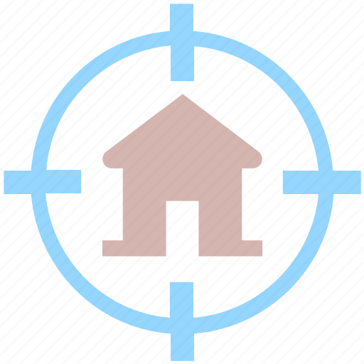 home, house, hunt, locate, property, seek, target icon