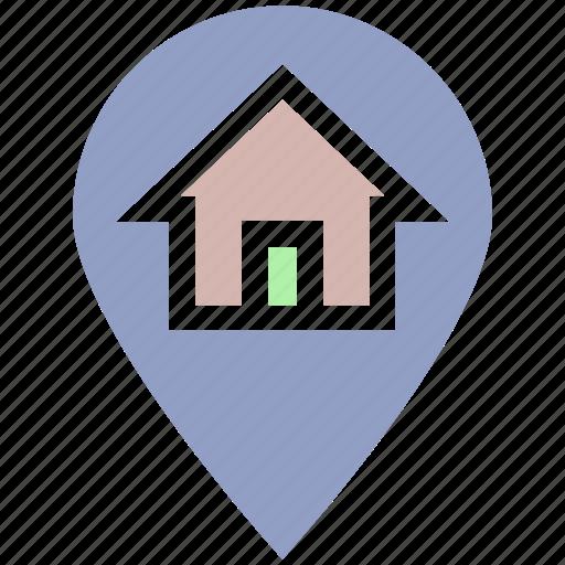home, house, house location, location, location pin, map pin, real estate icon