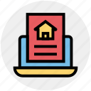 document, home document, house, laptop, online house paper, paper, real estate icon
