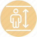 adjust height, arrow, height, man height, man height check, measure, size icon
