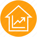 graph, home, house, property, real estate, real estate investment, statistics icon