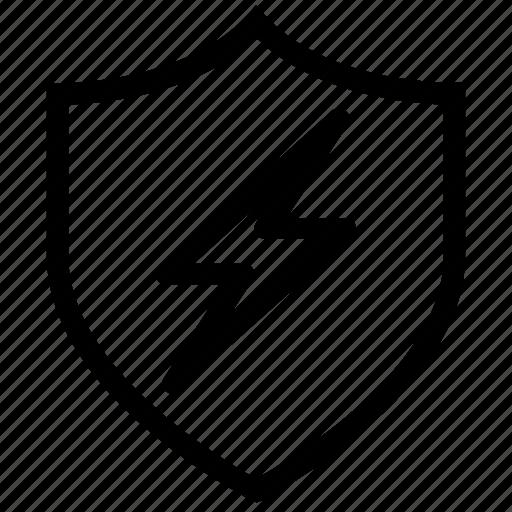 antivirus, firewall, protection, security, shield, thunder, virus icon