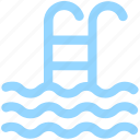 pool, staircase, swim, swimming, swimming pool, swimming staircase, waves icon