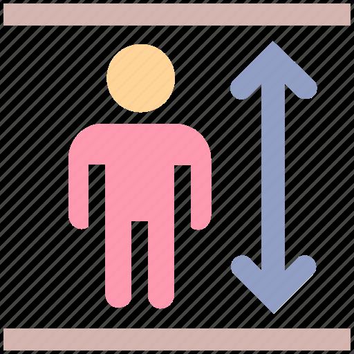 adjust height, arrow, height, man height, man height check, measure, size icon
