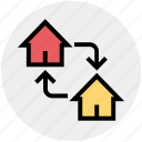 buildings, changing, equity, homes, houses, property, real estate icon