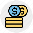 cash, coins, coins with dollar sign, currency, dollar, dollar sign, money icon