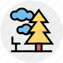 cloud, forest, nature, park, pine, summer, tree icon