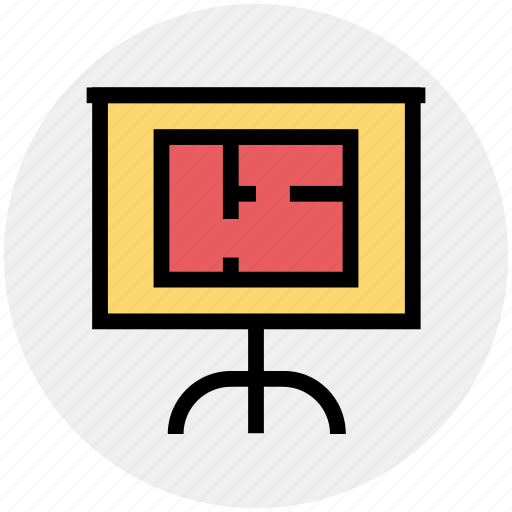 board, business presentation, easel, plan, presentation board, strategy icon