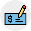 bank book, blank check, cheque book, money, pay check, payment, pen icon