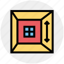 arrow, ceiling, frame, home, house, room, window icon