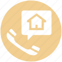 chat, communication, home, house, phone, talk, telephone icon