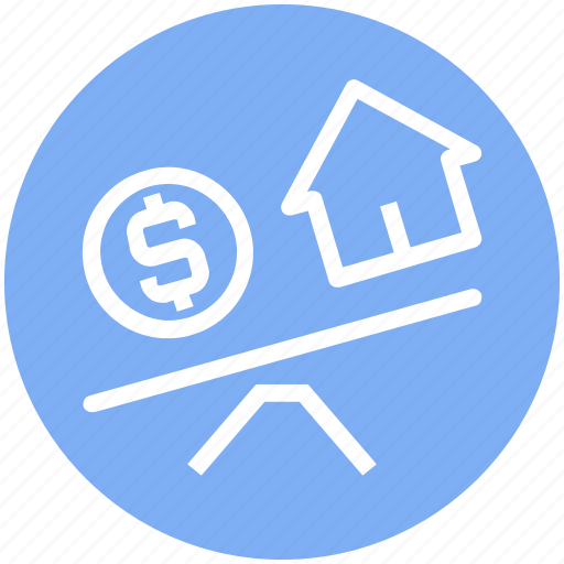 balance, house, house and dollar, property, real estate, scale, see saw icon