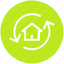 apartment, arrows, house, property, real, real estate, rotation icon