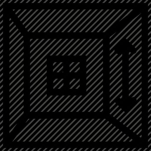arrow, ceiling, frame, home, house, room, window icon