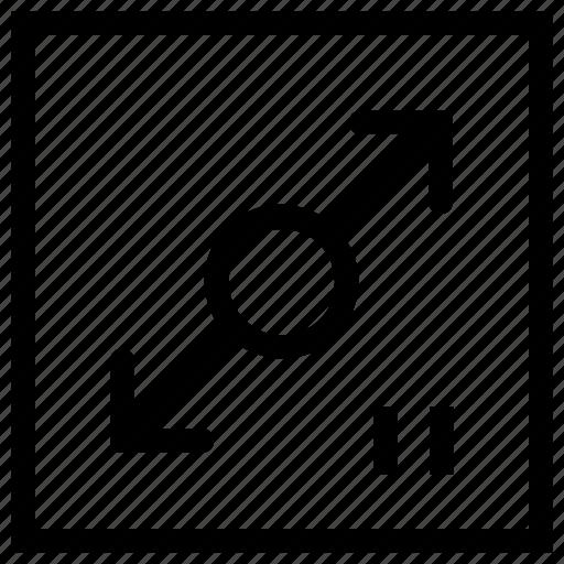 arrow, diagonal, maximum, measure, property, resize, size icon