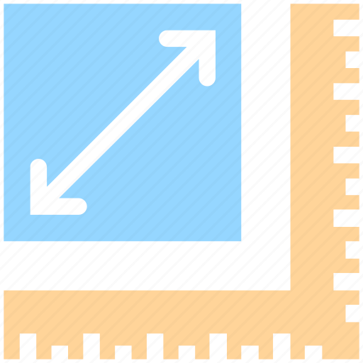 arrow, corner, extend, extended, measure, ruler, scale icon