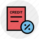 credit, discount, document, interest, paper, percent, percentage icon