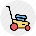 garden, gardening, grass, green, lawnmower, machine, mowing icon