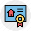 contract, document, house, house paper, property paper, real estate, ribbon icon