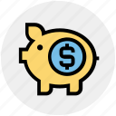 cash bank, dollar, dollar coin, money, piggy, piggy bank, saving icon