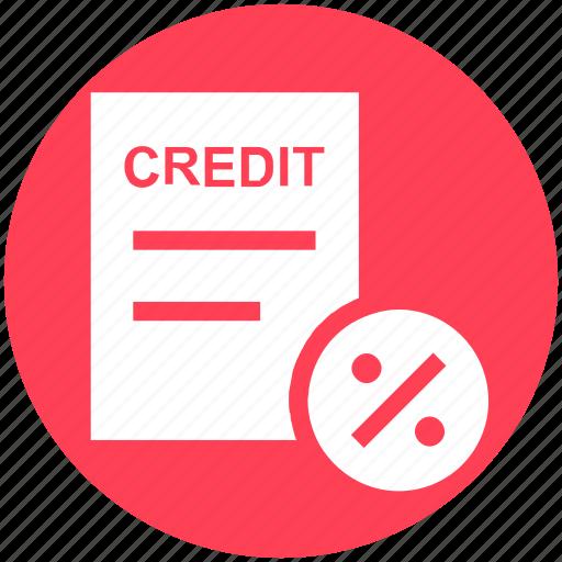 credit, discount, document, interest, paper, percent, percentage icon