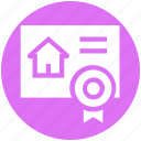 contract, document, house, house paper, property paper, real estate, ribbon