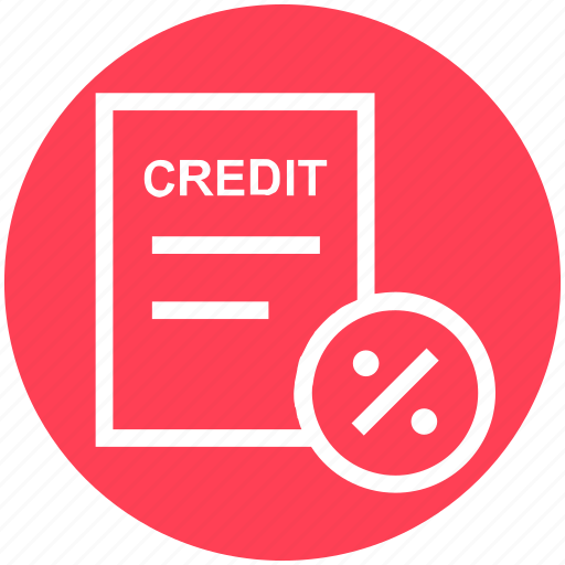 Credit, percent, discount, paper, interest, percentage, document icon