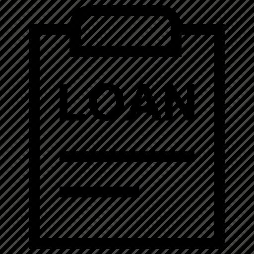 agreement, clipboard, document, file, loan, loan agreement, loan paper icon