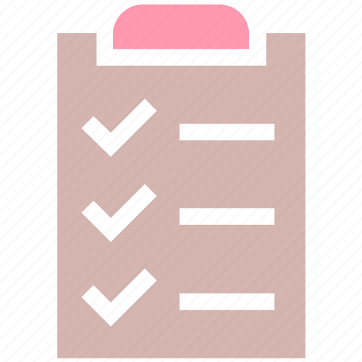 checkmark, clipboard, document, list, page, paper, task icon