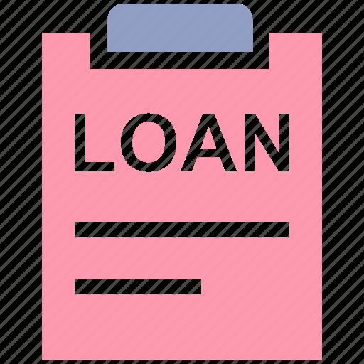 Loan, agreement, clipboard, file, loan agreement, loan paper, document icon
