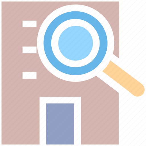 building, find, find building, magnifier, magnifying, property, search icon