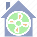 apartment, building, fan, house, property, ventilator cooler, ventilator fan icon