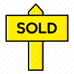 board, estate, home, house, real, signboard, sold icon